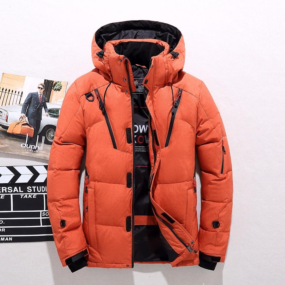 Men winter   down   jacket thick hooded men   down     coat   male zipper outdoor jacket men's warm outerwear M L XL XXL 3XL BLACK BLUE