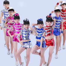 5ffb2752b Sequined Girls Boys Modern Jazz Dance Costumes Kids Hip Hop ...