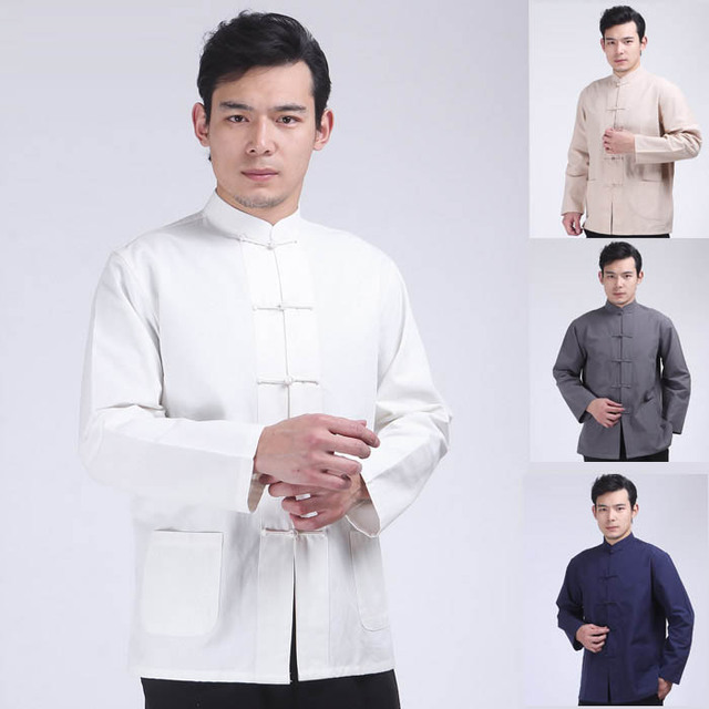 71a9de8a44 100% Cotton Traditional Chinese Clothes Tang Suit Top Male Kung Fu Tai Chi  Uniform Fall Autumn Shirt Blouse Coat for Men