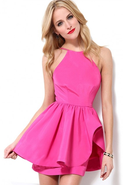 2017 New Spring Summer Fuchsia Frilled Crew Backless Skater Dress Pleated Sleeveless Mini Dress LCD1531