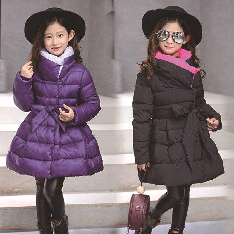 HSSCZL filles vestes hiver épaissir 2019 nouvelle fille coton manteau grands enfants main coton arc vêtements vêtements d'extérieur pour enfant fashion4-14Y