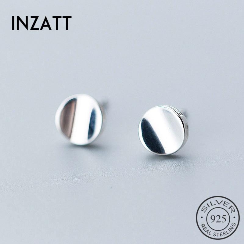 INZATT Geometric Round Glossy Minimalist Stud Earrings Fashion 925 Sterling Silver Fine Jewelry For Women Party Gift