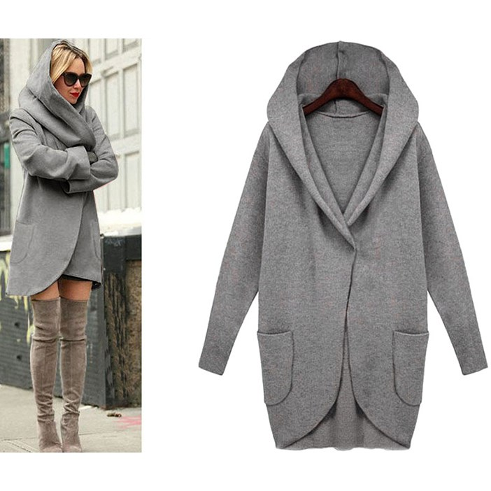 Autumn Women Plus Size Long   Trench   Coat Pocket Long Sleeve Hooded Coat Solid Cotton Blend Cardigans   Trench   Coat