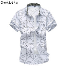 2017 Summer Slim Fit Short sleeves Mens Pattern Shirts 100% Cotton Casual Camisa Masculina Brand Clothing Plus Size 4XL 5XL 6XL