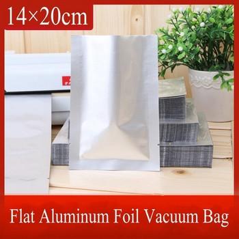 500pcs wholesale 14*20cm Pure Aluminum Foil Packaging Bag Snack Food Vacuum Storage Open Top Heat Seal Silver Plastic Bag BZ135