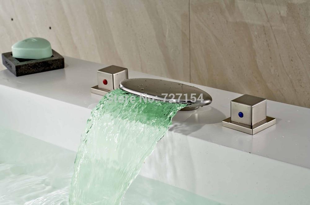 Бесплатная доставка! Двойной площадь ручки Ванная комната LED смеситель водопад Смеситель для мойки Никель Кисточки