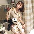 Primavera e no Verão Das Mulheres Ocasional Dos Desenhos Animados do Urso de Manga Curta Conjuntos de Pijama Bonito Padrão Urso Pijamas Mujer