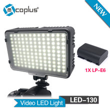 Mcoplus LED-130 Video Light with 1 x LP-E6 Battery for Canon Nikon Sony & DV Camera Camcorder