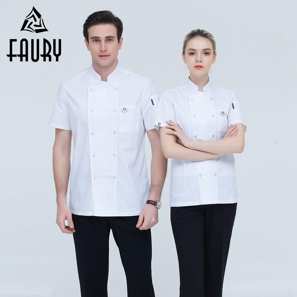 Chef Unisex Short-sleeve Double Breasted Summer Hotel Sushi Cooking Work Wear Jacket Restaurant Kitchen Bakery Uniform Wholesale