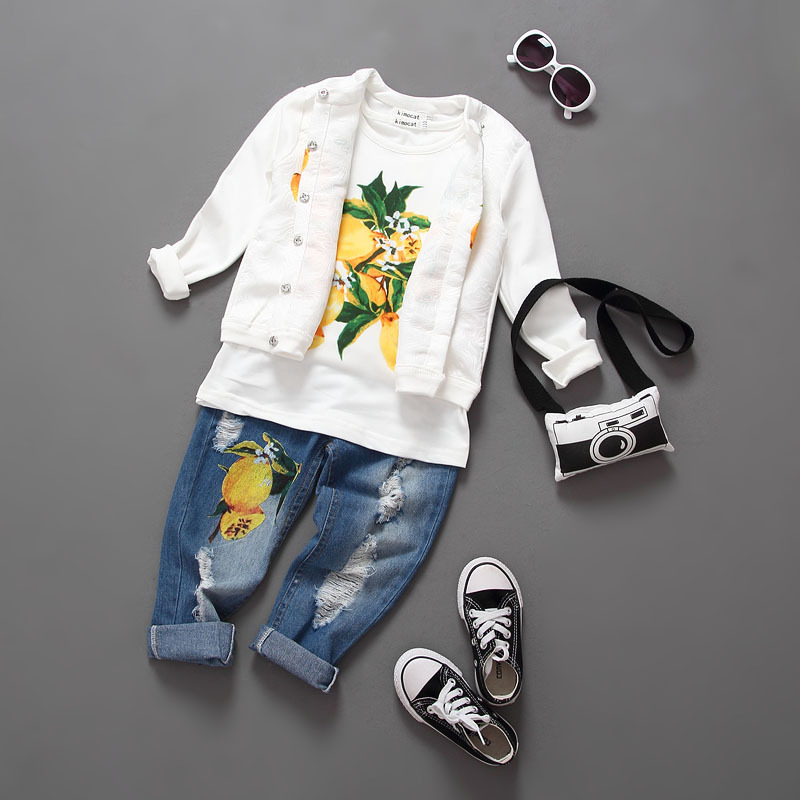 ФОТО Lemon print girl's 3pcs clothing sets Children's autumn winter clothing teenage girl clothes lemon print jeans for girl