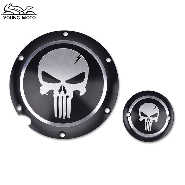 Motorcycle Black Skull Derby Timer Cover Clutch Timing Cover For
