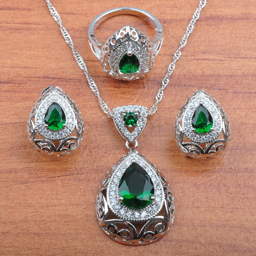 925 Silver Dubai Wedding Costume Hollow Water Drop With Natural Stones CZ Green Jewelry Sets For Women Free Gift Box JS213