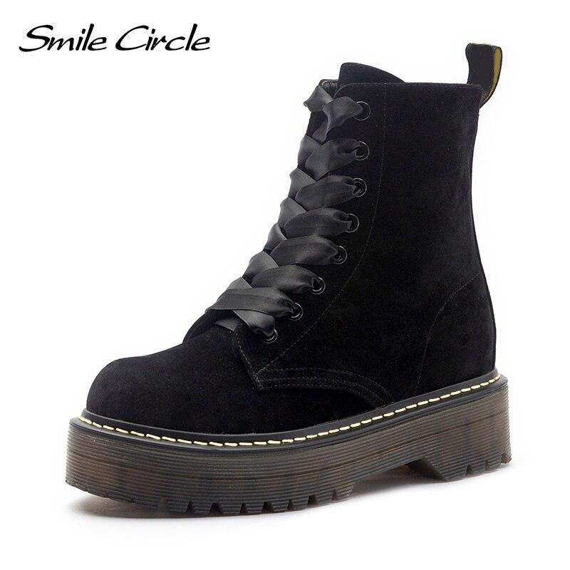 Теплые ботинки на меху, зимние кожаные ботинки на массивном каблуке, женская обувь, ботильоны на плоской платформе со шнуровкой, осень 2018, пл...