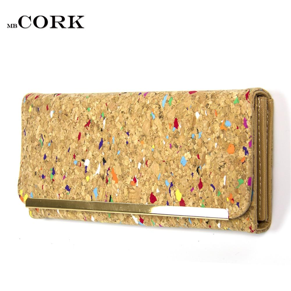 Natural cork women Wallet Bifold Multi Card Case wallet Clutch Long Magnetic Flip vegan bags Bag-272