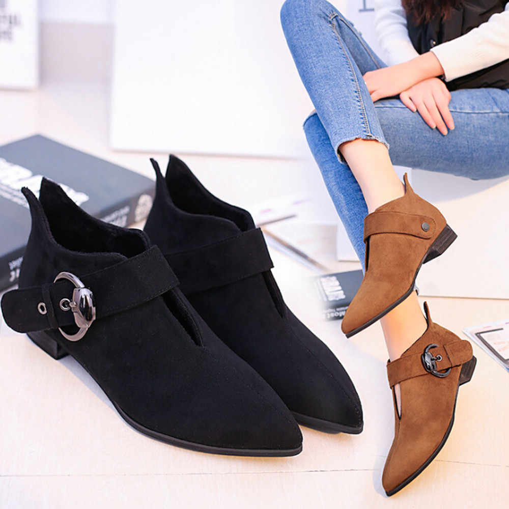 Frauen Spitz Schuhe Gürtel Schnalle Martin Stiefel Mode Stiefeletten Frau winter Dame Stiefel Frauen Mode Hotselling Schuhe
