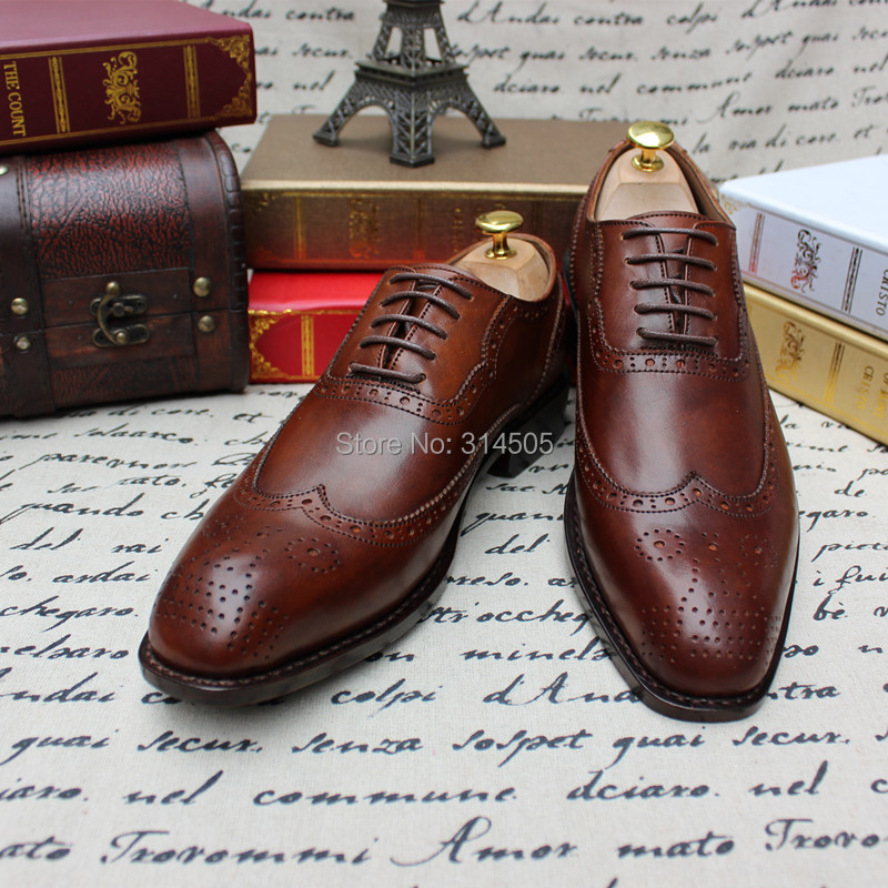 Skp73 new goodyear men brown genuine leather oxford shoes for What is bespoke leather