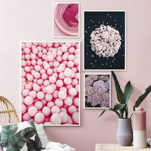 Pink Lilac Flower Fashion Lip Cake Nordic Posters And Prints Wall Art Canvas Painting Pictures For Living Room Home Decor