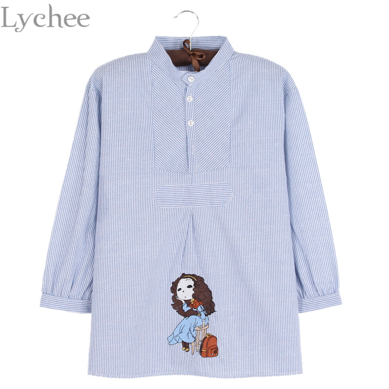 Lychee Fashion Lychee Spring Autumn Women Blouse Girl Embroidery Stripe Lantern Sleeve Casual Loose Shirt Tops