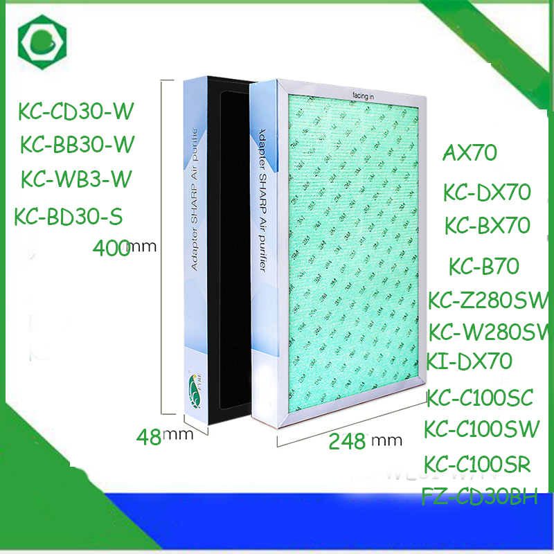 40*24.8*4.8cm Air Purifier Filter for Sharp KC/KI-AX70 KC-C100SC/W/R KC/KI-DX70 KC/KI-BX70 KC-B70Air Purifier washable activated carbon formaldehyde filter fz c100dfs for sharp kc z280sw kc w280sw ki dx70 air purifier