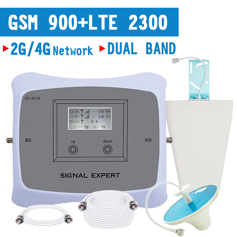 Walokcon GSM 900 4G Dual Band Cellular Signal Booster 2G GSM 900/4G LTE 2300 2400MHz Mobile Signal Repeater Amplifier 70dB Gain