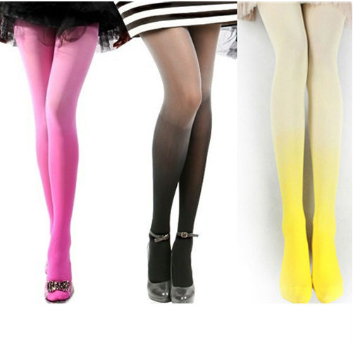 Free shipping 2018 New Fashion Womens Harajuku Colors Gradient Tattoo Tights 60 Denier Velvet Stockings Pantyhose Wholesale