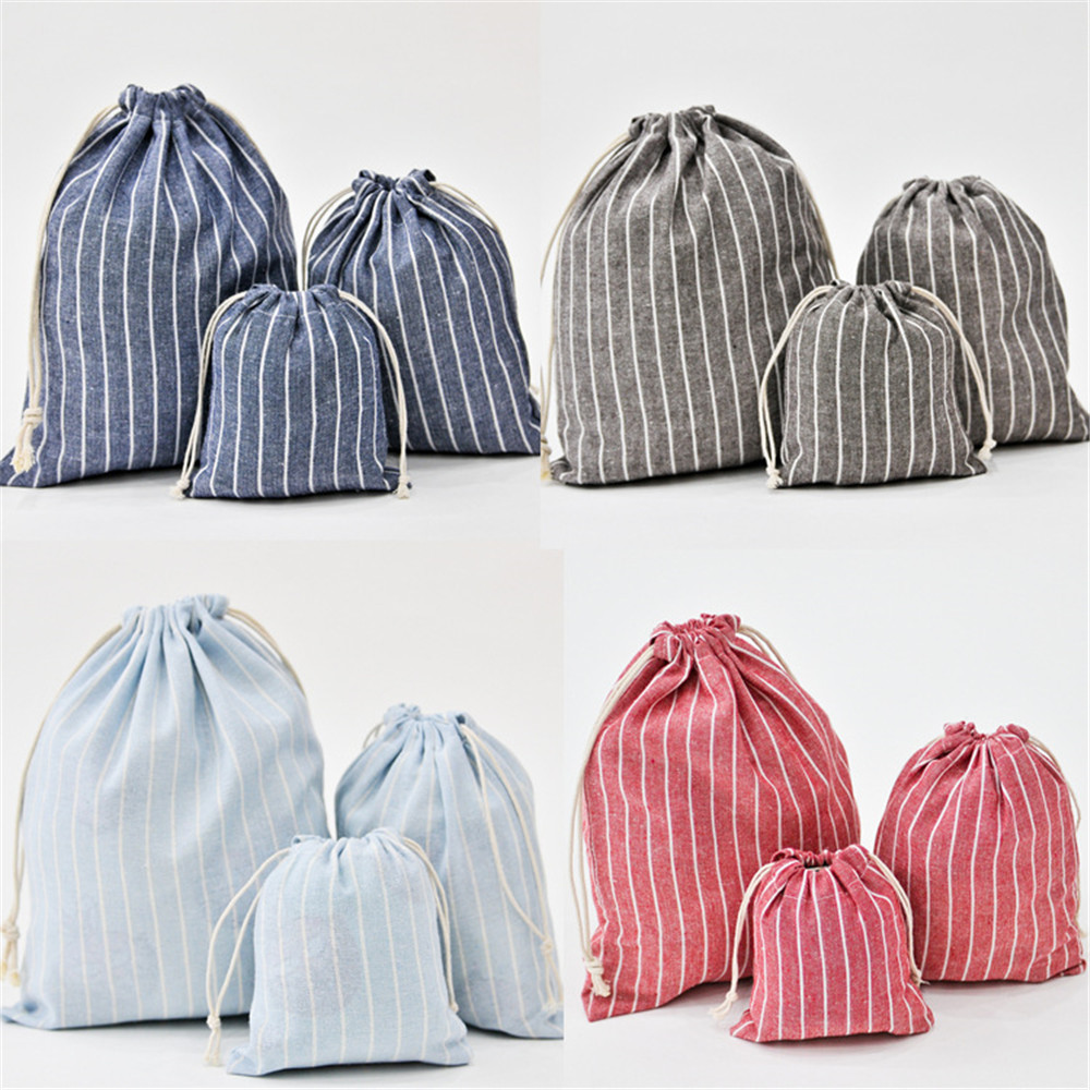 Handmade Cotton Linen Bag Storage Beam Pocket Drawstring Bag Striped Coin Purse Travel Christmas Gift Pouch 1 Set