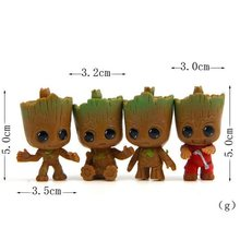 4pcs/lot Galaxy Guard Q Tree Man Model PVC Figure Action Toy For Lovely Gift(China)