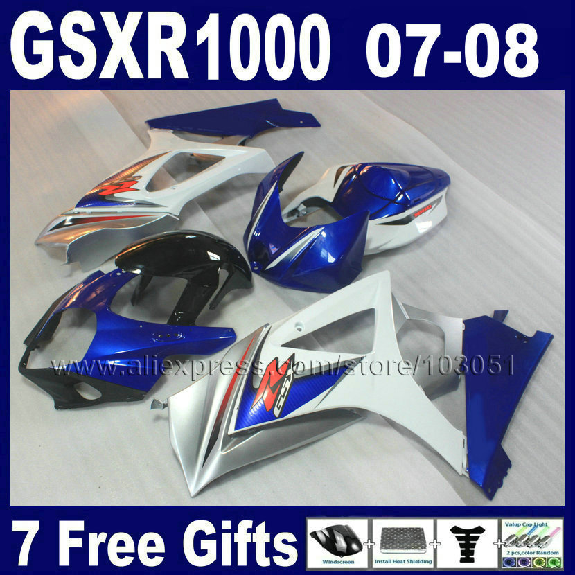 7gifts OEM aftermarket fairings sets for SUZUKI K7 GSXR1000 2007 2008 GSXR 1000 08  07 blue white fairing bodywork kits aftermarket free shipping motorcycle parts eliminator tidy tail for 2006 2007 2008 fz6 fazer 2007 2008b lack