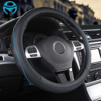 DERMAY Genuine Leather Steering Wheel Cover 2colors M Size Fit Outer Diam 14 15 Ford Focus