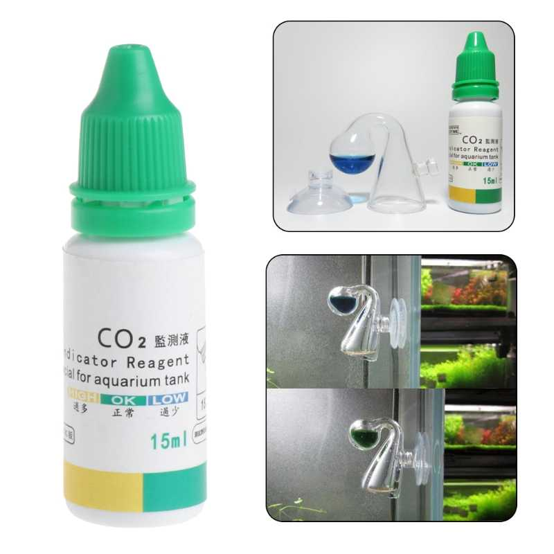 Aquarium CO2 Indicator Solution Fish Tank Liquid Test Plants Supplies Long Term -M15