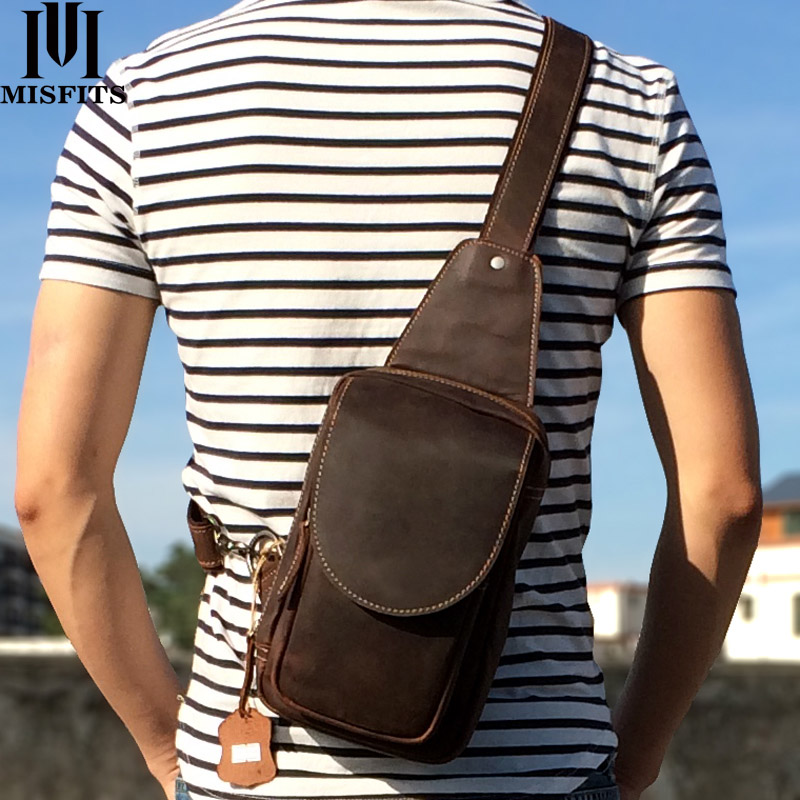 MISFITS 2019 new genuine leather messenger bag men s casual chest packs luxury brand crossbody bag