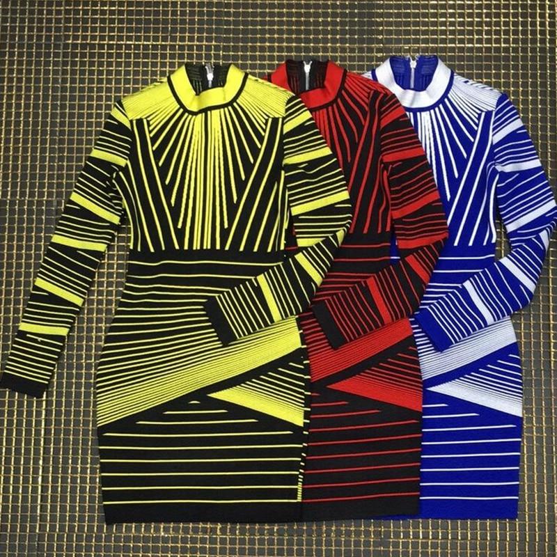 Manches Noir O Patchwork Cou Vert Jaune Moulante Rouge Soirée Élégant Bleu Celebrity Bandage Rayé Femmes Robe Longues 8dR4wq4