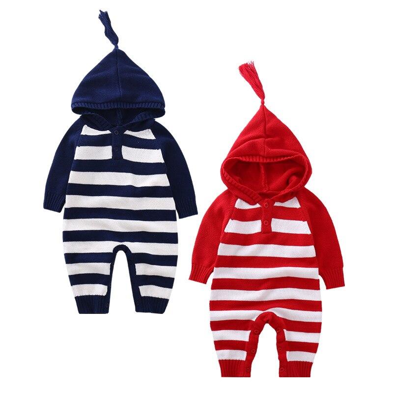 Осень-зима для маленьких девочек в полоску для мальчиков с капюшоном кисточкой шерстяной комбинезон Детские повседневные Джемперы детей в...