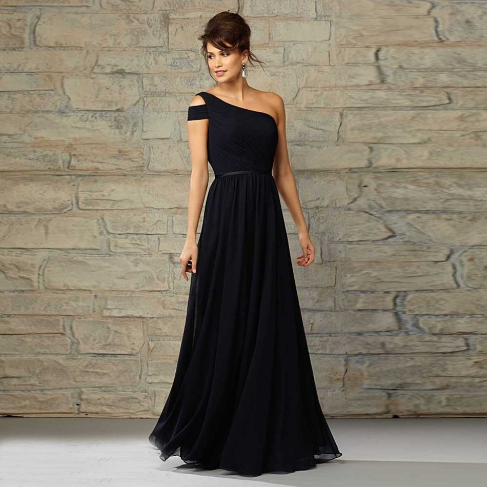 Elegant Royal Blue Bridesmaid Dresses Scalloped Pleat Chiffon Wedding Bridesmaid Dress 2015 Winter in Fashion
