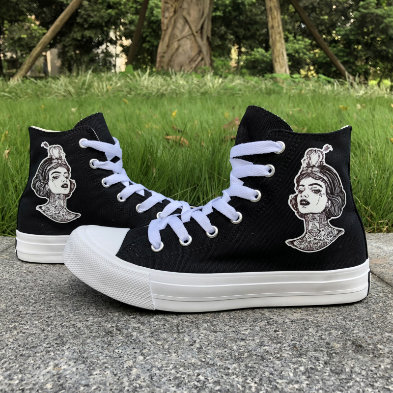 Wen Original Design Snow White Diamond Rose Flower Tattoo High Top Black Canvas Sneakers Women Girls White Skate Shoes zonestar newest full metal aluminum frame big size 300mm x 300mm auto level laser engraving run out decect 3d printer diy kit