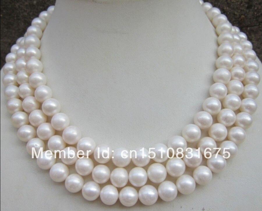 Nouvelle femme perle bijoux AAA 9-10mm naturel parfait rond blanc perle collier 50 pouces xu67