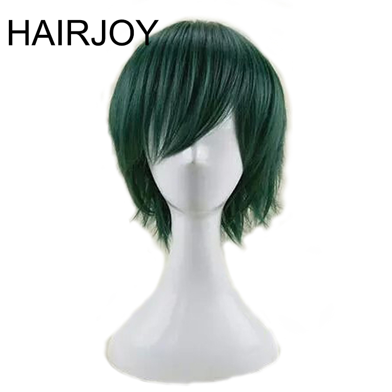 HAIRJOY Synthetic Hair Man Mint Green Layered Short Straight Male Cosplay Wig Free Shipping 5 Colors Available 66