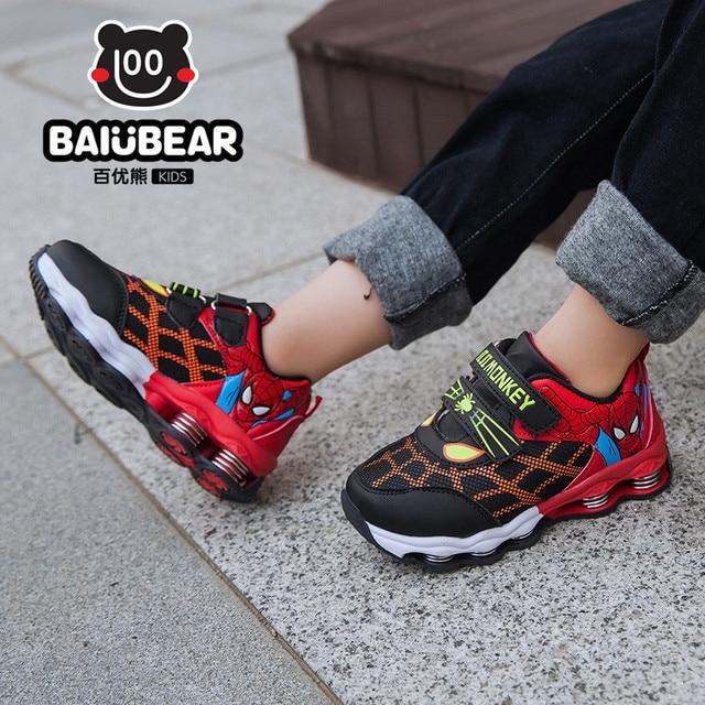 d14d26176 Nuevo Otoño Primavera Zapatos de Los Niños Spiderman Flash de Noche Luz  Zapatillas Deportivas Zapatos para