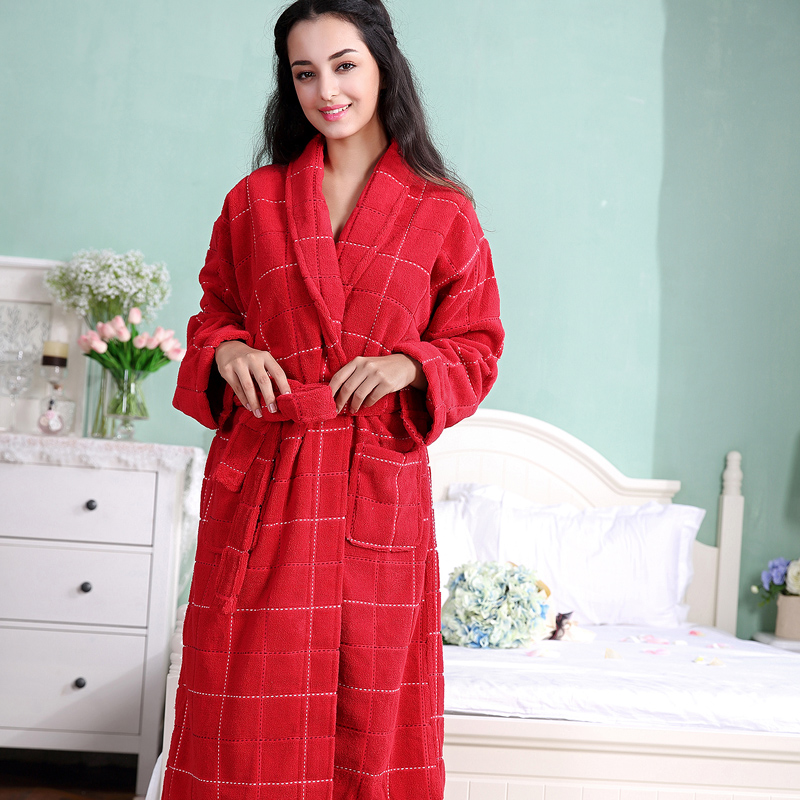 Robe en coton de couleur rouge pour femmes, longue robe en coton éponge pour femmes