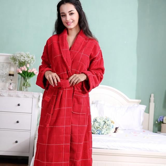 Red Color Women Cotton Robe, long warm women terry cotton robe