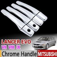 Cho Mitsubishi Lancer EVO VII VIII IX Chrome Door Handle Bìa Trim 2001 2002 2003 2004 2005 2006 7 8 9 Phụ Kiện Xe Styling