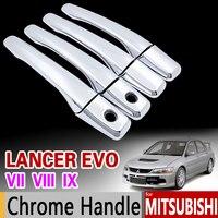 Dla Mitsubishi Lancer EVO VII VIII IX Chrome Klamka Pokrywy Tapicerka 2001 2002 2003 2004 2005 2006 7 8 9 Akcesoria Samochodowe Car Styling