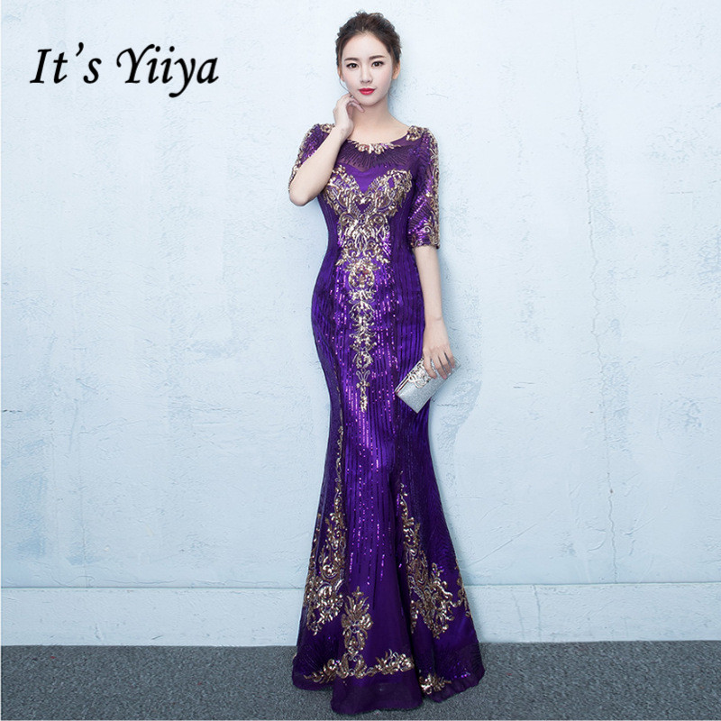It's YiiYa Elegant O-Neck Half Sleeves Dinner Party Formal   Dresses   Bling Sequined F-Length Trumpet   Evening     Dress   LX107