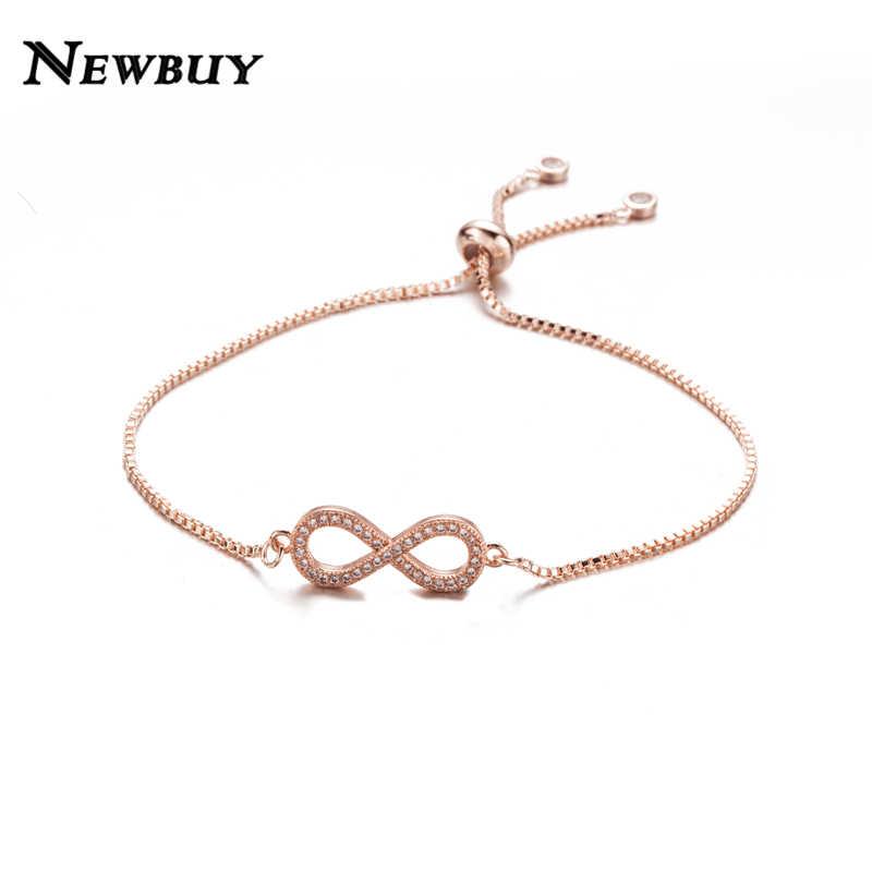 NEWBUY 2019 à la mode 8 forme Infinity charme Bracelets pour femme couleur argent clair cubique zircone incrusté Bracelets réglables