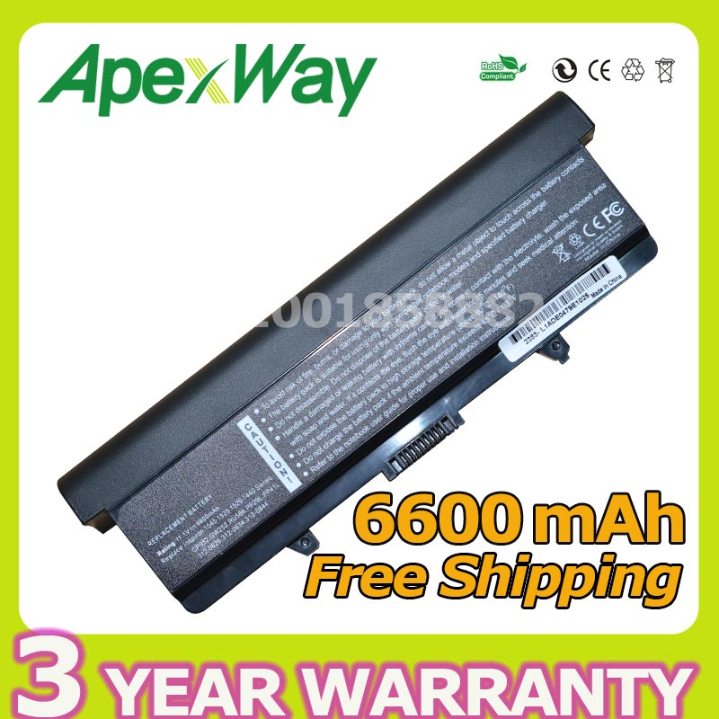Apexway 6600mAh Battery For Dell Inspiron 1525 1526 1545 1546 for Vostro 500 HP287 HP297 M911G P505M RN873 RU573 RU583