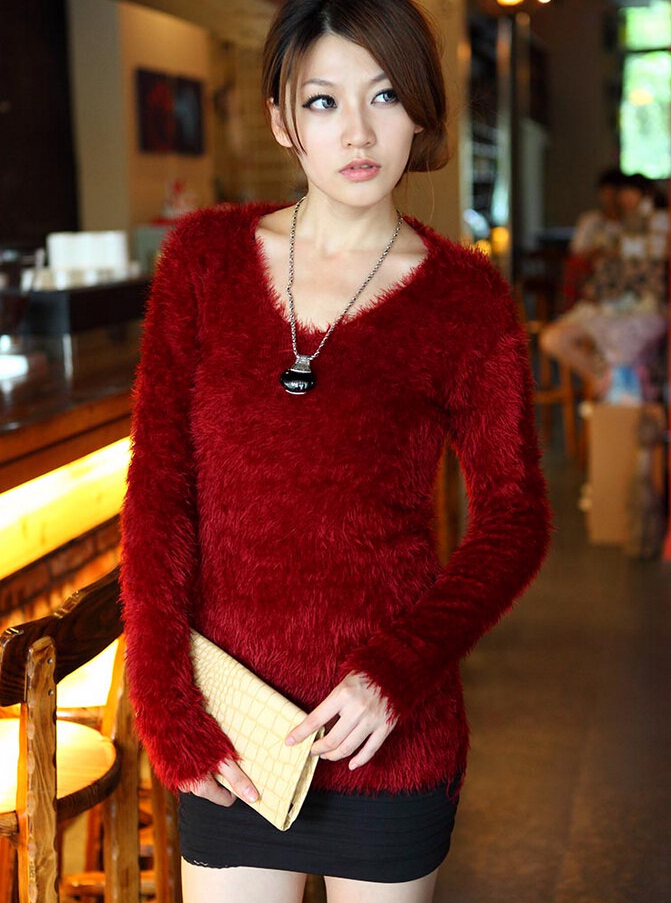 New Designer Solid Hairy Sweater For Women/Girls  Fashion Brief Slim Warm Soft Sweaters Pullovers wf-5084