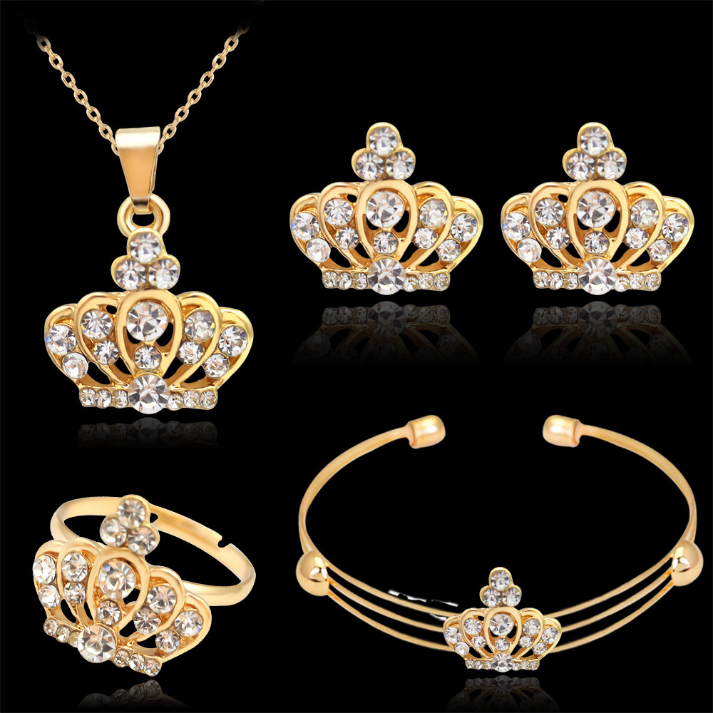Fashion Woman Jewerly Luxury Cubic Zirconia Crown Pendant Statement  Necklace Earrings Wedding Bridal Gold-Color Sets Jewellery