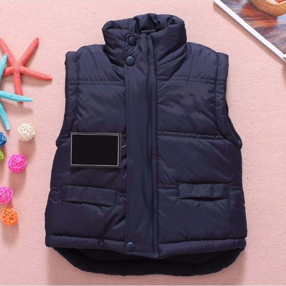Solid Winter Outerwear Coats Baby Vest Jacket Children Clothing Plus Cotton Warm Clothes for <font><b>Boy</b></font> Girl Thick Toddler Waistcoat