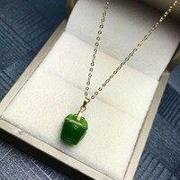 SHILOVEM 18k YELLOW gold Natural green Jasper pendants no necklace classic fine Jewelry women wedding new plant mymz101109by