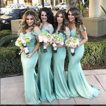 2017 Elegant Cheap Bridesmaid Dress Mermaid Light Green Lace Bodice Satin Long New Arrival Bridesmaid Dresses